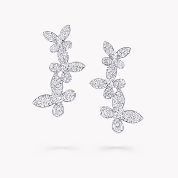 缱绻蝴蝶三重奏钻石长耳环, , hi-res