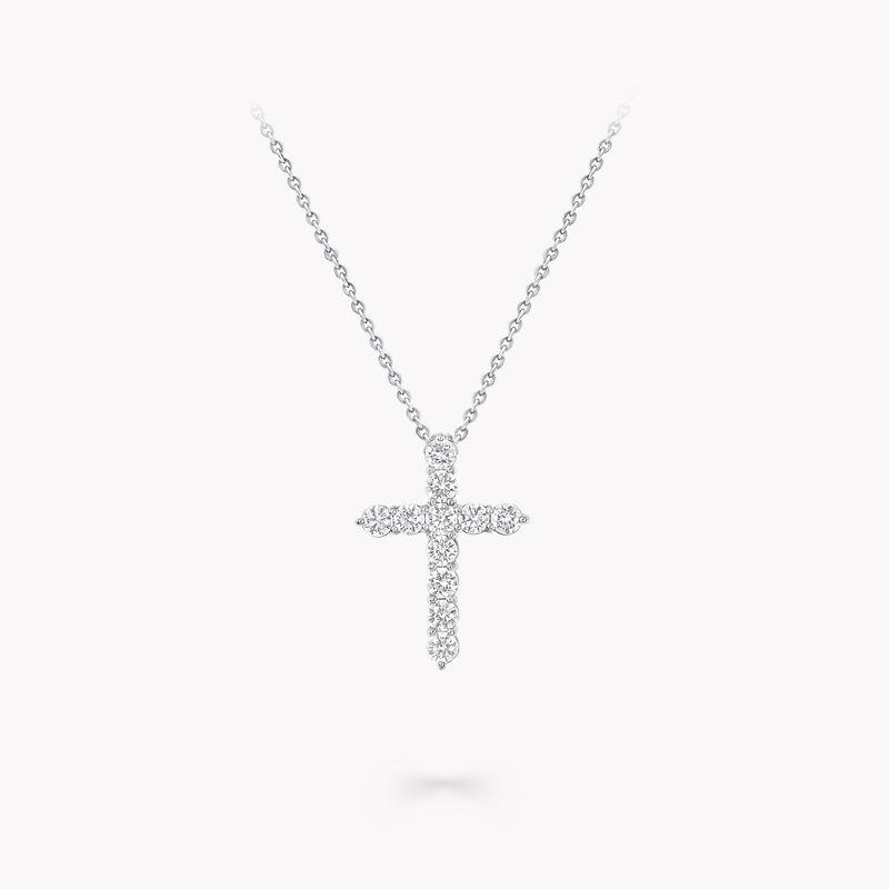 Round Diamond Cross Medium Pendant, , hi-res