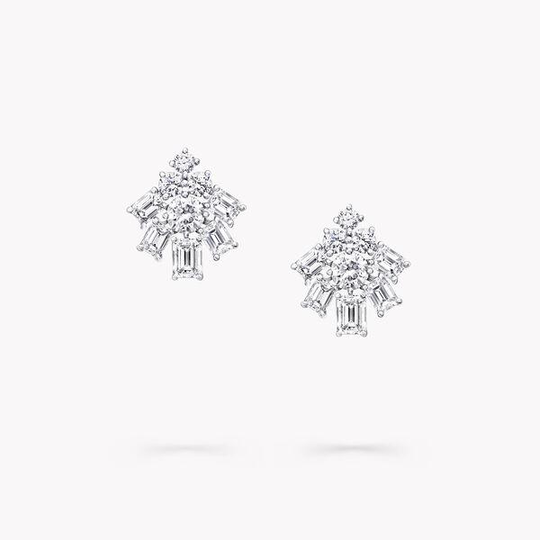 祖母绿形切割和圆形钻石耳环, , hi-res