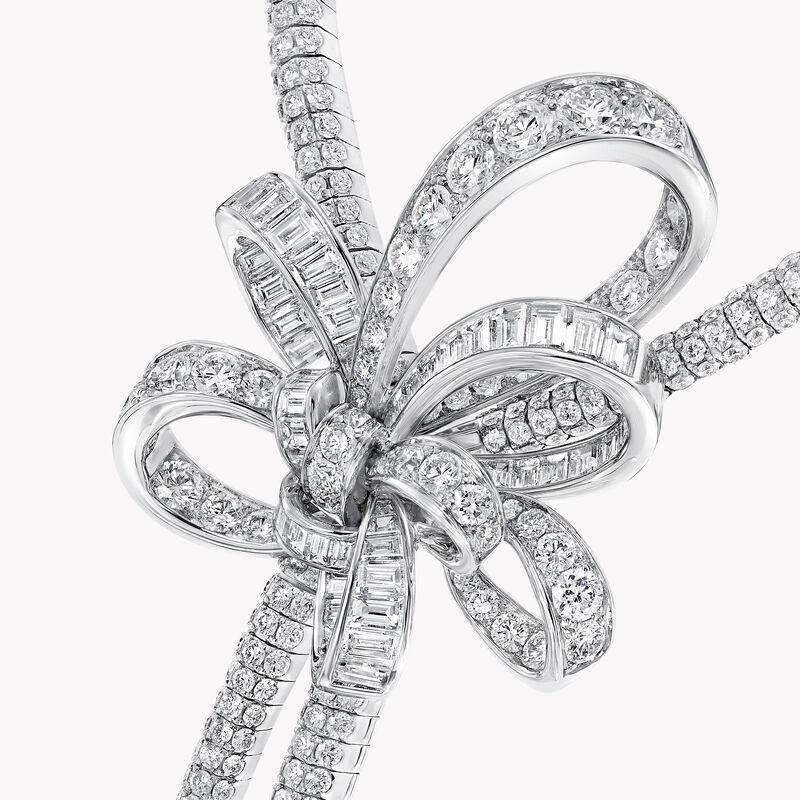 Tilda's Bow Double Diamond Drop High Jewellery Necklace, , hi-res