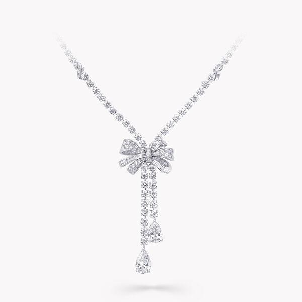 Tilda's Bow双行梨形钻石项链, , hi-res