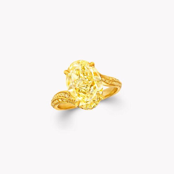 椭圆形黄钻高级珠宝戒指, , hi-res