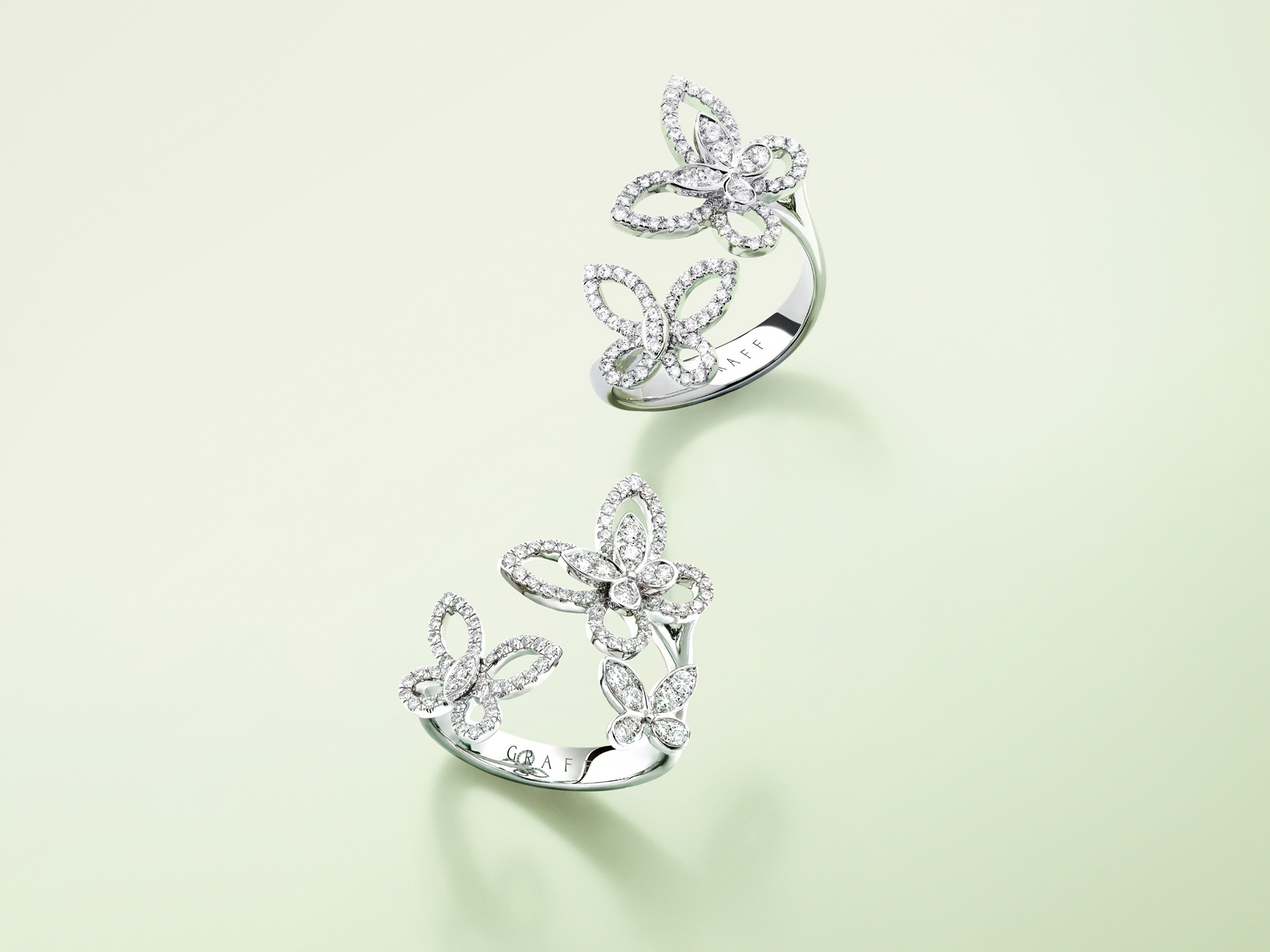 Double Butterfly Silhouette Diamond Ring and Triple Butterfly Silhouette Diamond Ring from the Graff jewellery collection.